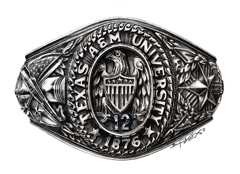 Texas A&M University/College Ring Before 1999 - Print - Benjamin Knox Fine Art Gallery