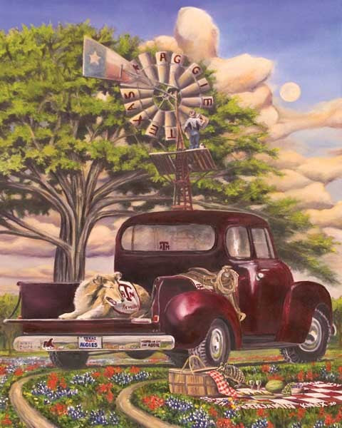 Texas A&M University - Aggie Truck - Print - Benjamin Knox Fine Art Gallery