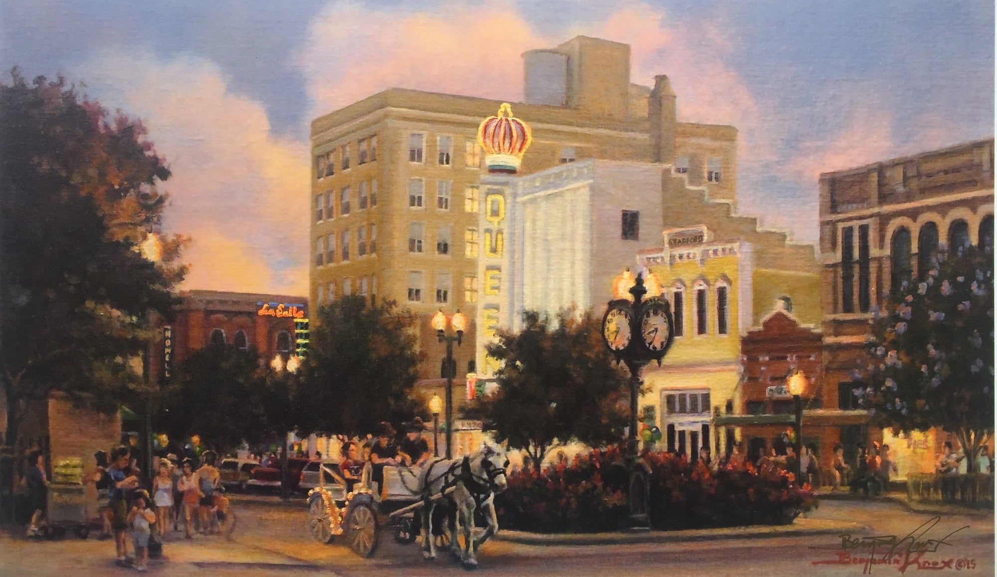 First Friday in Downtown Bryan - Print - Benjamin Knox Fine Art Gallery