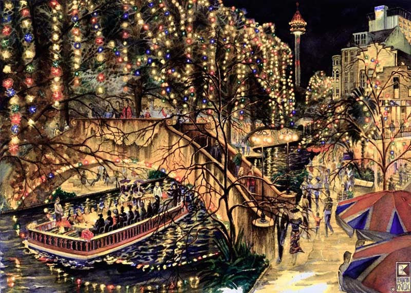 Dinner on the Riverwalk - Print - Benjamin Knox Fine Art Gallery