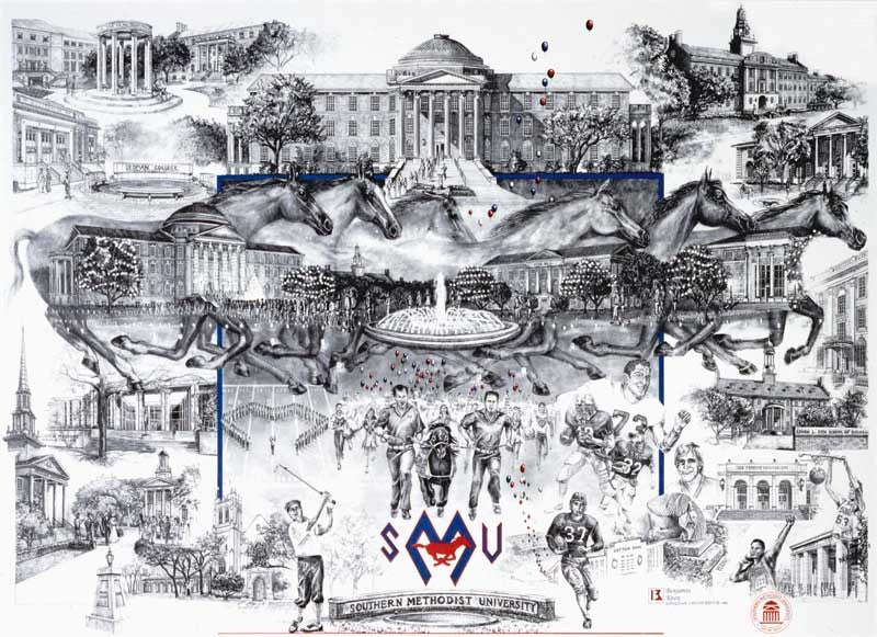 SMU Campus Collage - Southern Methodist University - Print - Benjamin Knox Fine Art Gallery