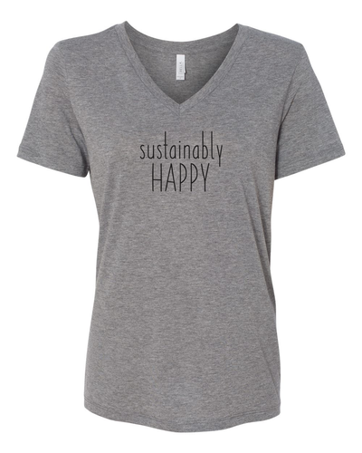 Sustainably Happy women's V grey