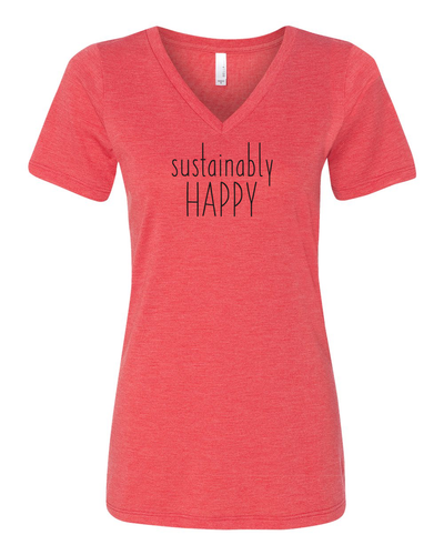 Sustainably Happy women's V red