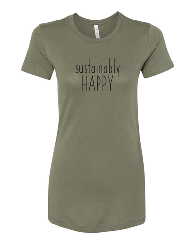 Sustainably Happy Olive T-shirt