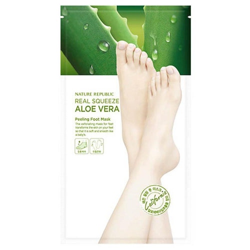 Real Squeeze Aloe Vera Peeling Foot Mask 1 Pair - SevenBlossoms