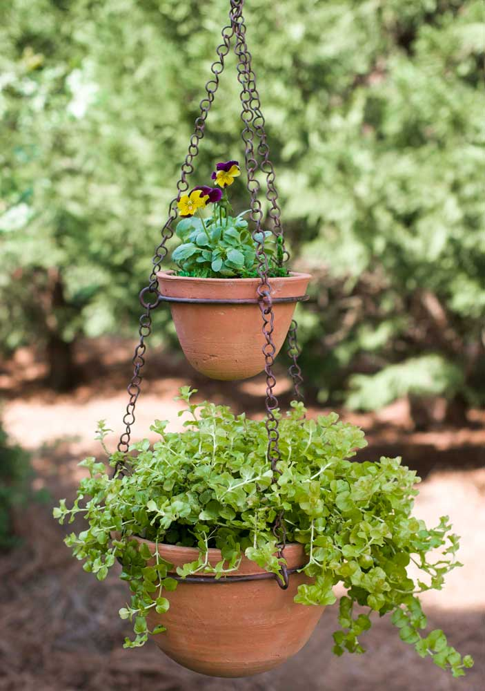 Two-Tier Hanging Terra Cotta Pot