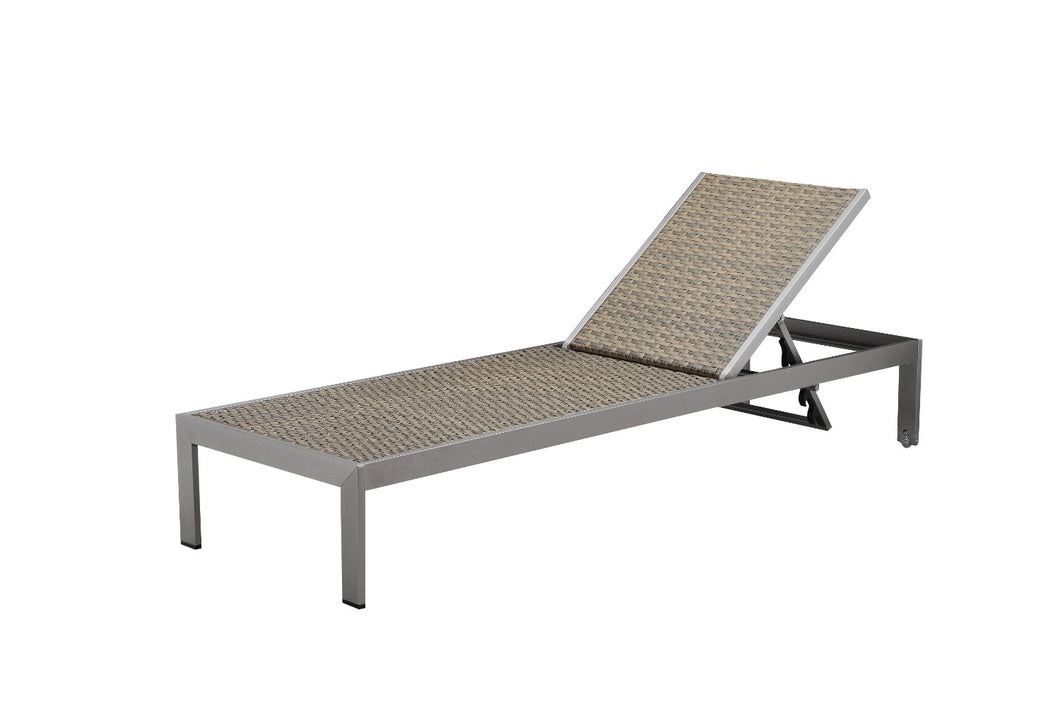 Anodized Aluminum Modern Lounger With Wheels, Brown