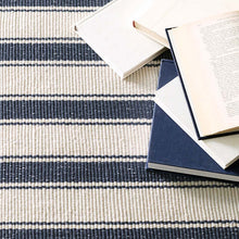 Load image into Gallery viewer, 2.5x8 Blue Awning Stripe Indoor-Outdoor Rug