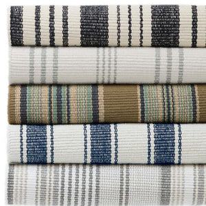 2.5x8 Blue Awning Stripe Indoor-Outdoor Rug