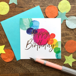 """Happy Birthday"" with Watercolor Spots"