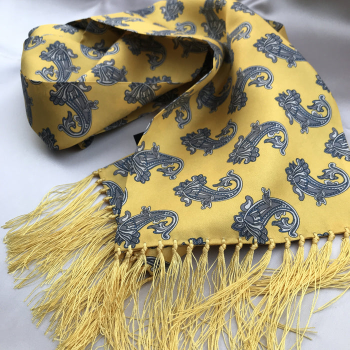 Aviator Bright Yellow Large Floral Paisley Silk Scarf - Scarves - - ThreadPepper