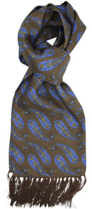 Aviator Brown Large Paisley Silk Scarf - Scarves - - ThreadPepper
