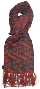 Aviator Burnt Orange Large Paisley Silk Scarf - Scarves - - ThreadPepper