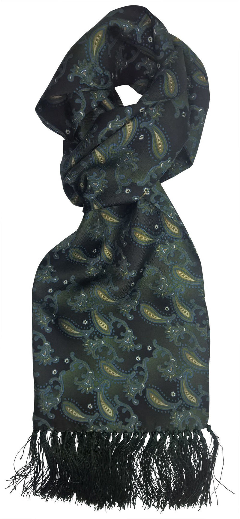 Aviator Dark Green Abstract Paisley Silk Scarf - Scarves - - ThreadPepper