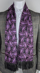 Aviator Purple Large Paisley Silk Scarf - Scarves - - ThreadPepper