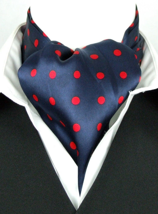 Big Red Dots on Navy All Silk Cravat - Cravats - - ThreadPepper