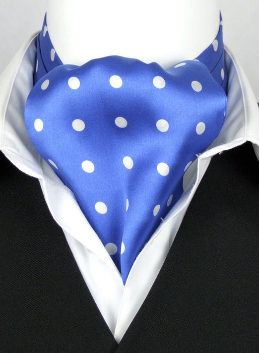 Big White Dots on Blue All Silk Cravat - Cravats - - ThreadPepper