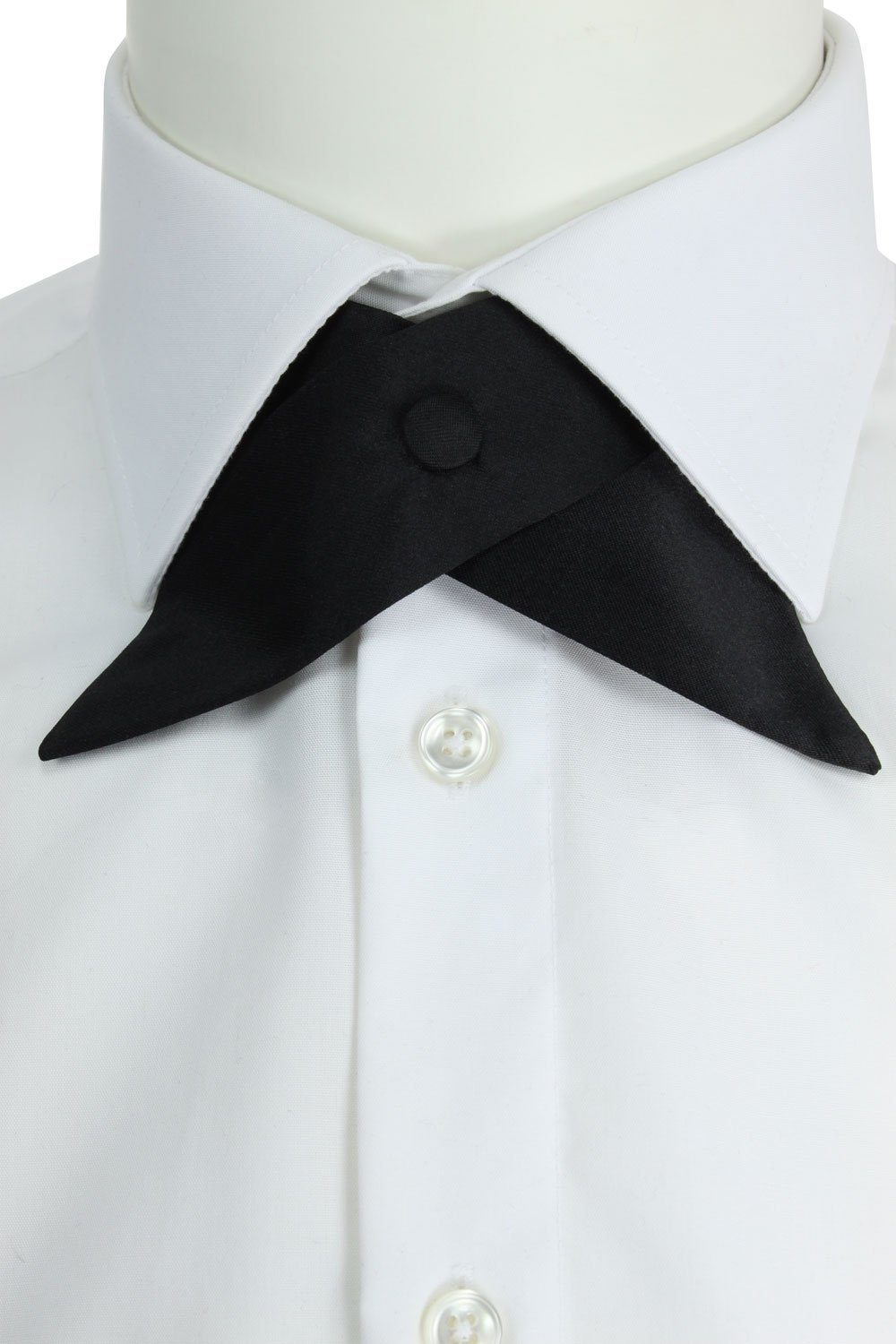 Black Satin or Velvet Crossover Bow Tie with Diamante Silver Gold Edged Button