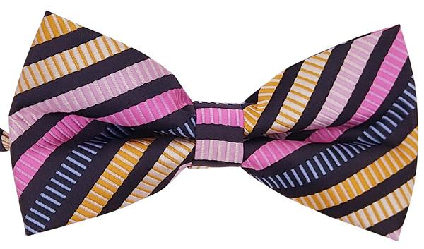 Black Multi-Coloured Striped Bow Tie - Bow Ties - - ThreadPepper