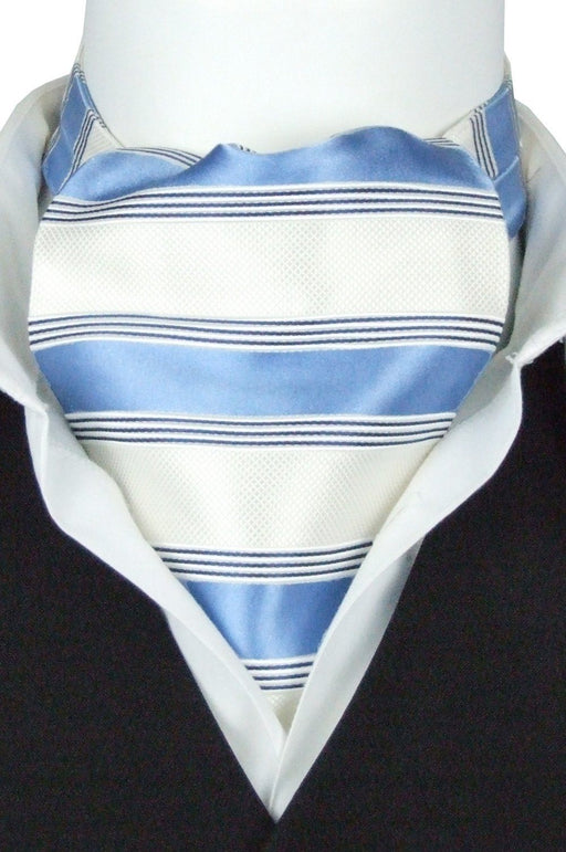Blue Stripes All Silk Cravat - Cravats - - ThreadPepper