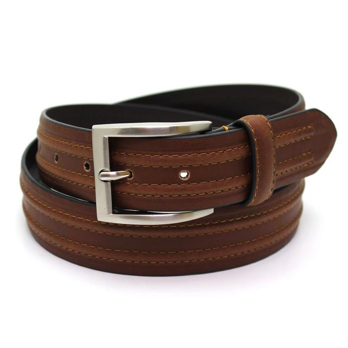 Brown Leather Chino Belt - Belts - - ThreadPepper