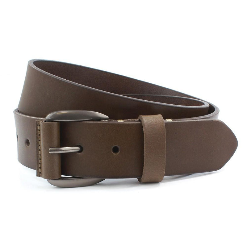 Brown Leather Jeans Belt - Belts - - ThreadPepper