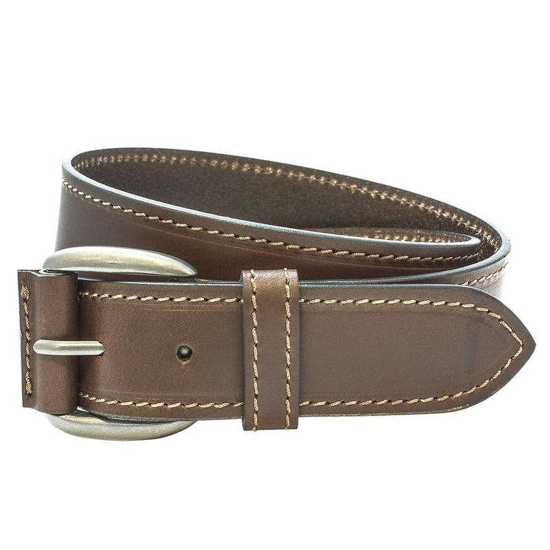 Brown Leather Stitched Edge Jeans Belt - Belts - - ThreadPepper