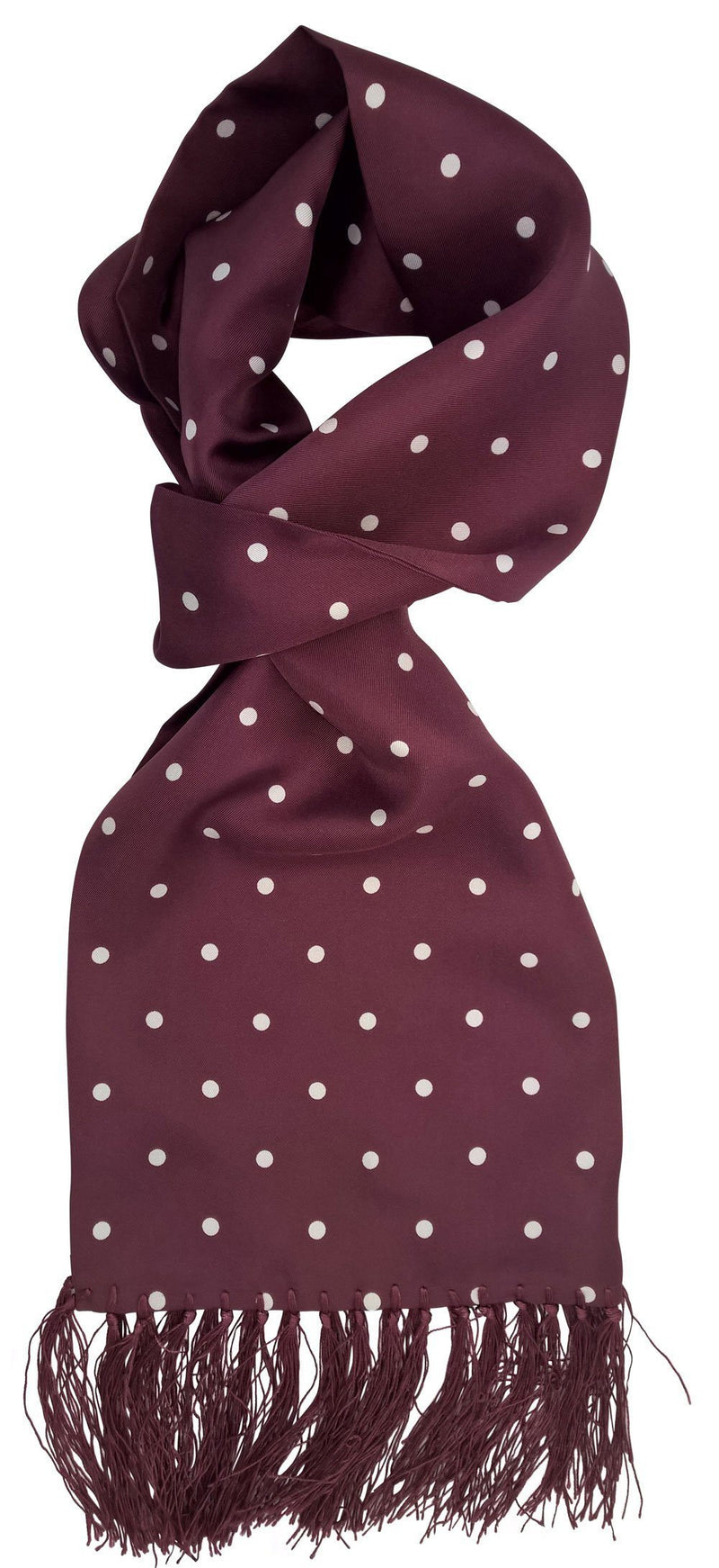 Burgundy Dot Silk Scarf - Scarves - - ThreadPepper