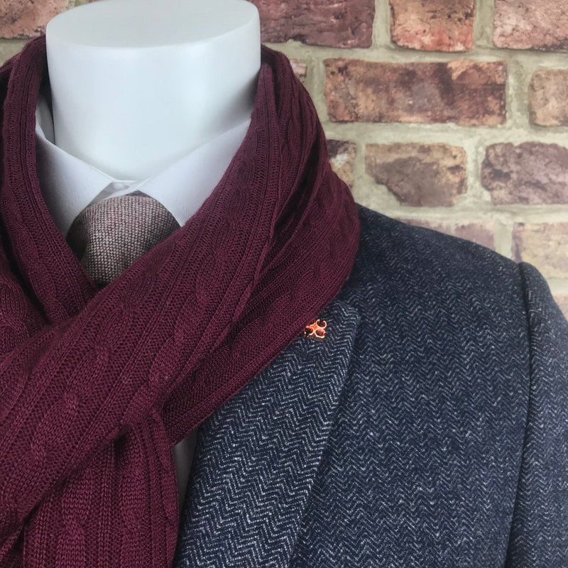 Burgundy Lambswool Cable Knit Scarf - Scarves - - ThreadPepper