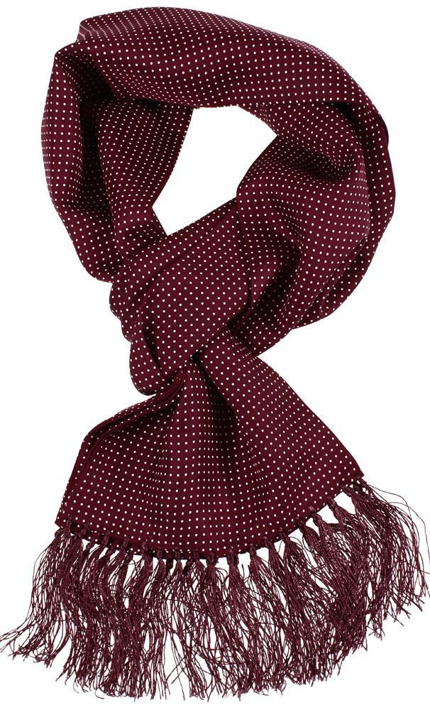 Burgundy Spot Silk Scarf - Scarves - - ThreadPepper
