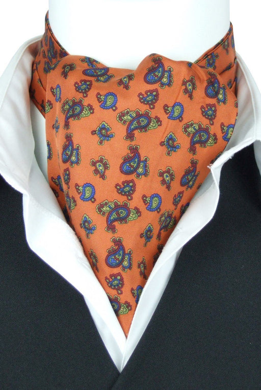 Caspian Orange All Silk Cravat - Cravats - - ThreadPepper