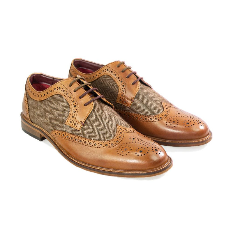 Coltrane Tan Brogue Shoes - Shoes - 7 - ThreadPepper