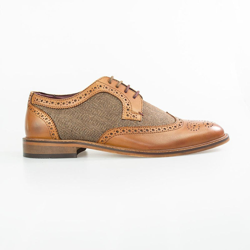 Coltrane Tan Brogue Shoes - Shoes - - ThreadPepper