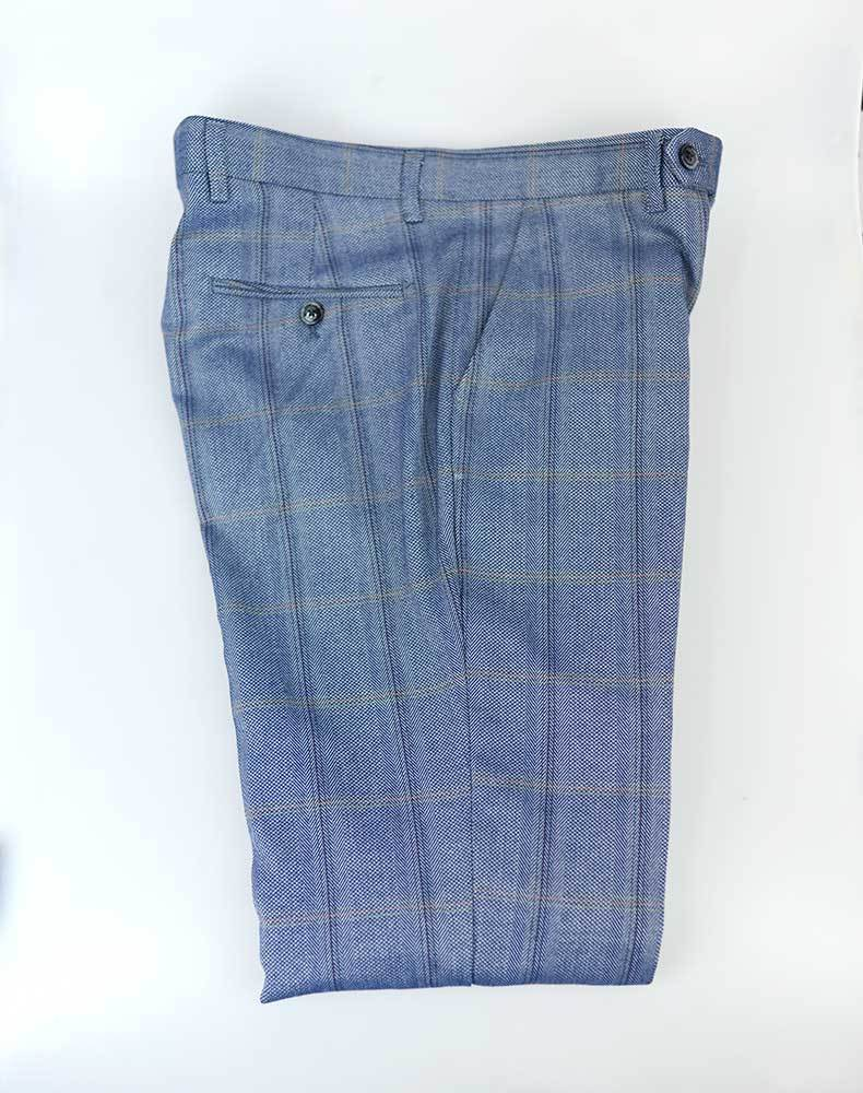 Connall Blue Tweed Trousers - Trousers - 30R - ThreadPepper