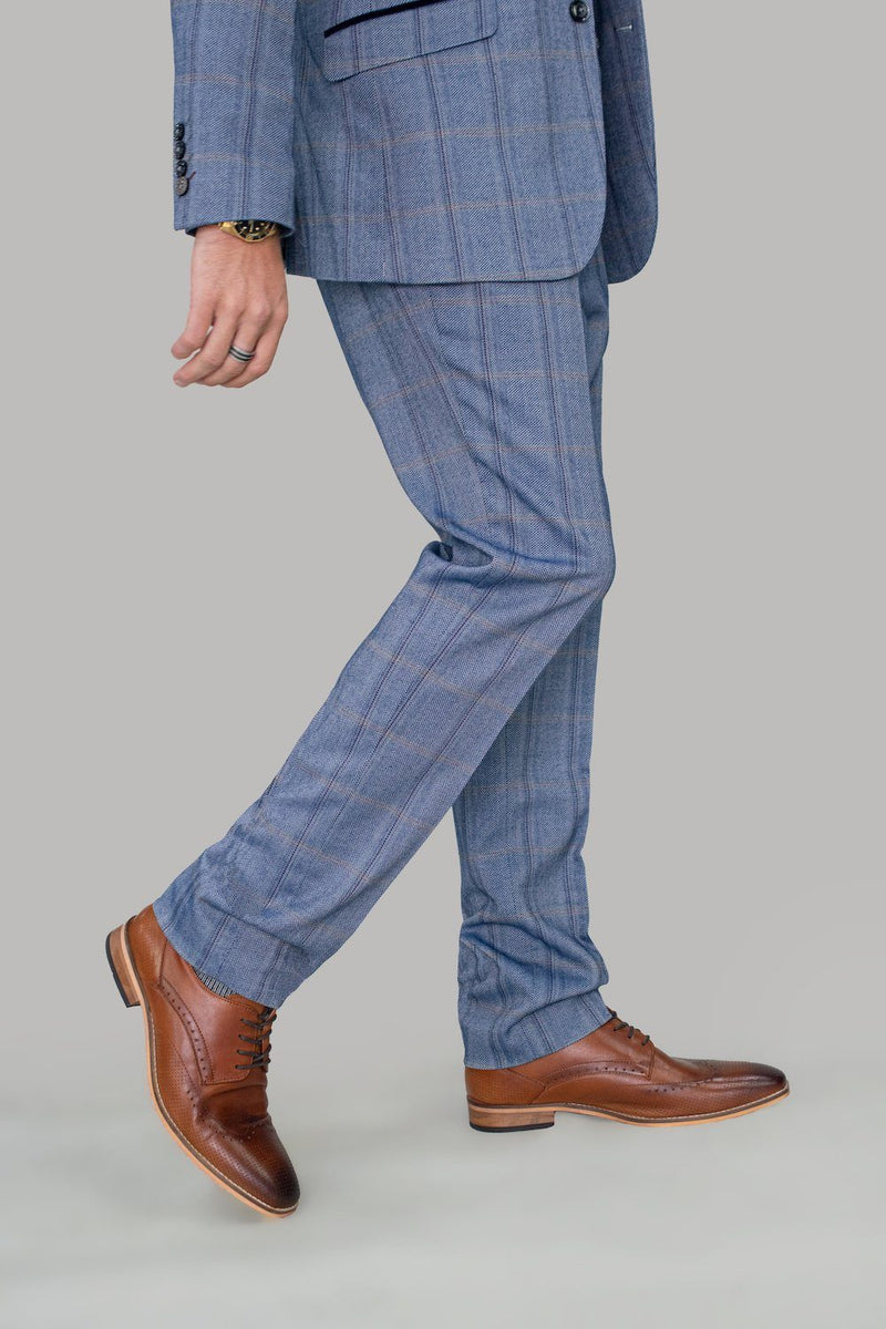 Connall Blue Tweed Trousers - Trousers - - ThreadPepper