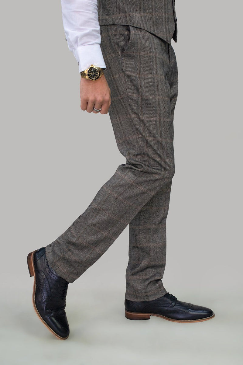 Connall Brown Tweed Trousers - Trousers - - ThreadPepper