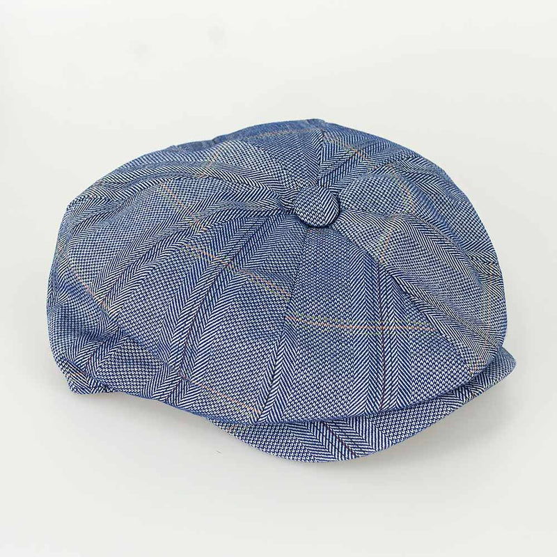 Connell Tweed 8 Panel Baker Boy Cap - Available in 3 colours - Hats - S/M Blue - ThreadPepper