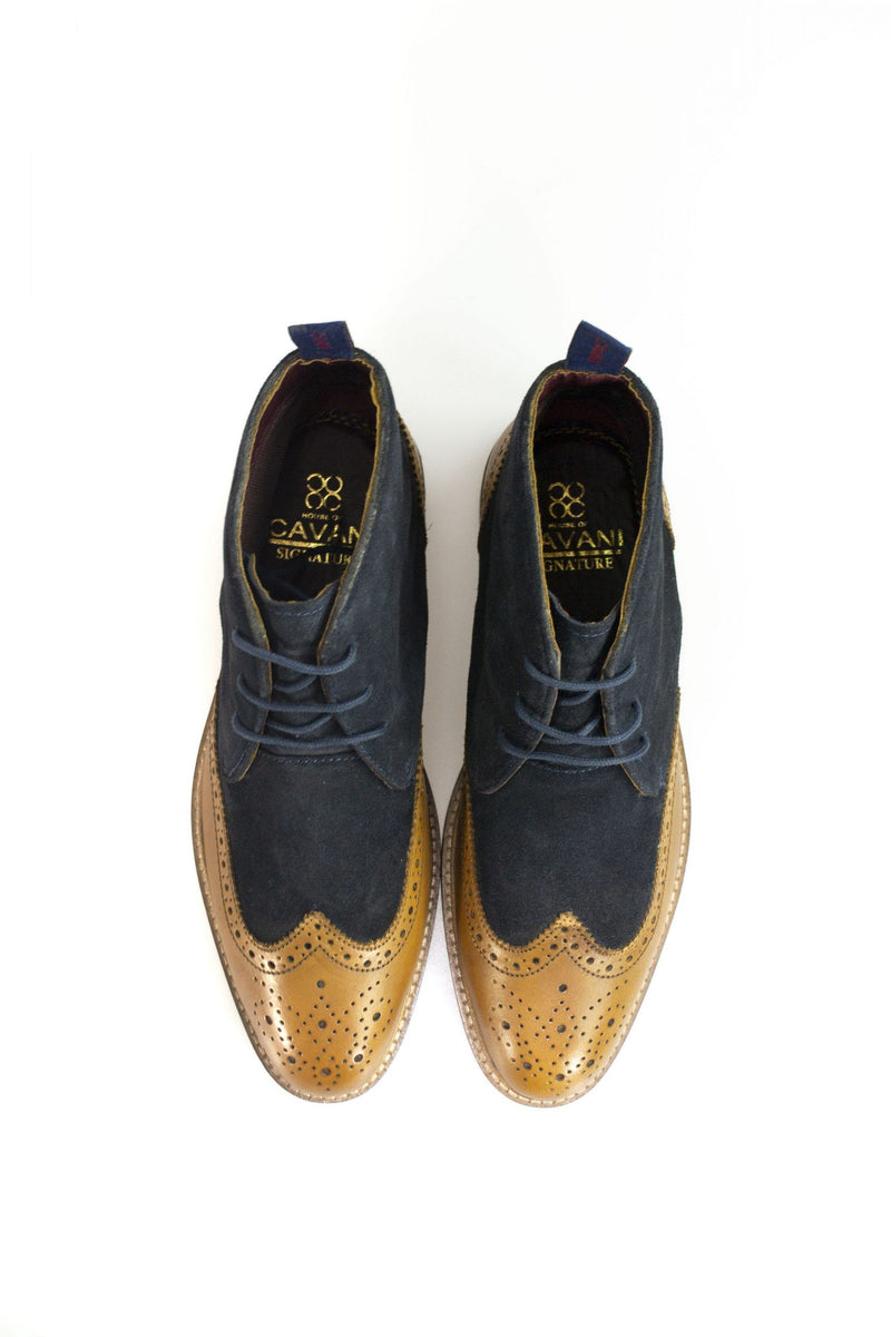 Connick Navy/Tan Brogue Boots - Shoes - - ThreadPepper