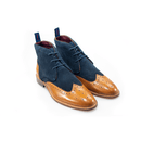 Connick Navy/Tan Brogue Boots - Shoes - 7 - ThreadPepper