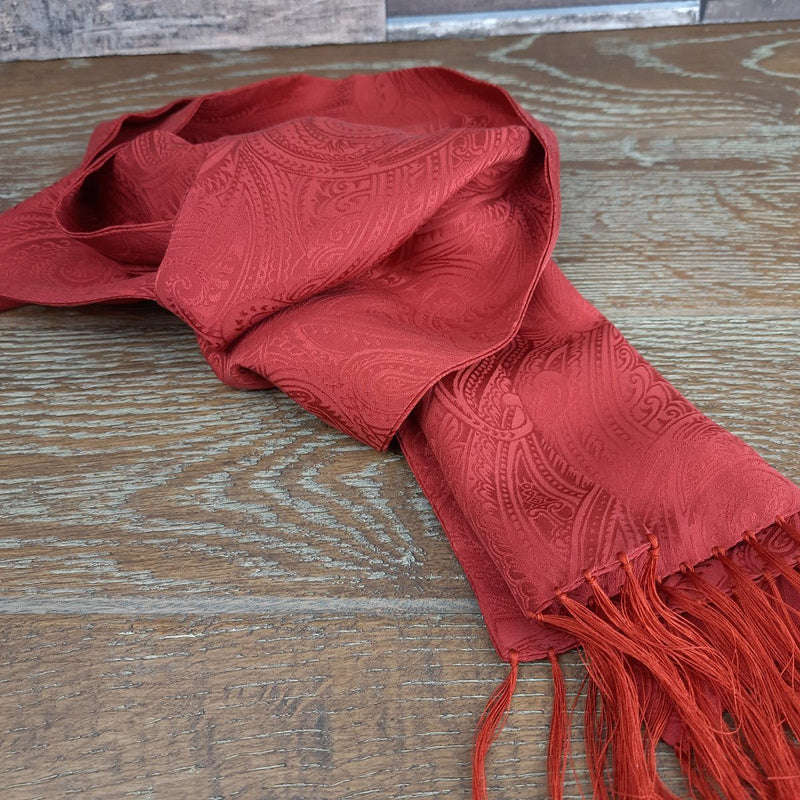 Copper Orange Paisley Silk Scarf - Scarves - - ThreadPepper