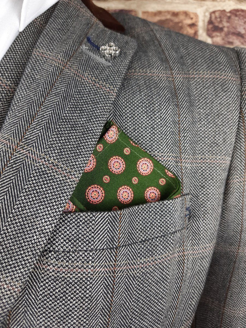 Dark Green Medallions Cotton Pocket Square - Handkerchiefs - - ThreadPepper