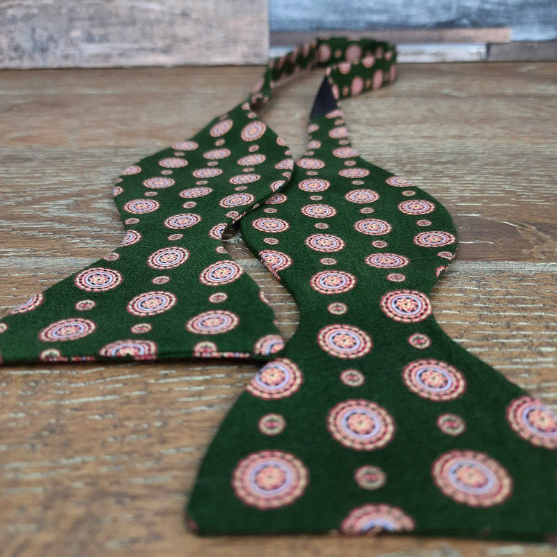 Dark Green Medallions Cotton Self-Tie Bow Tie - Bow Ties - - ThreadPepper