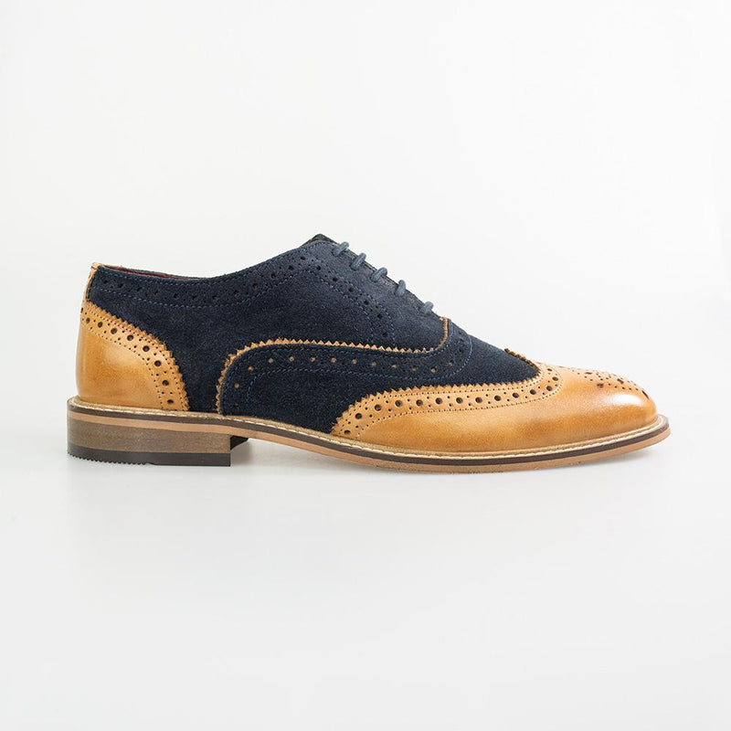 Duke Navy Tan Brogue Shoes - Shoes - - ThreadPepper