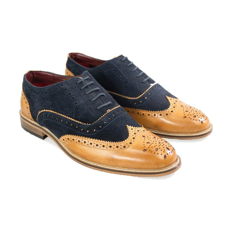 Duke Navy Tan Brogue Shoes - Shoes - 7 - ThreadPepper