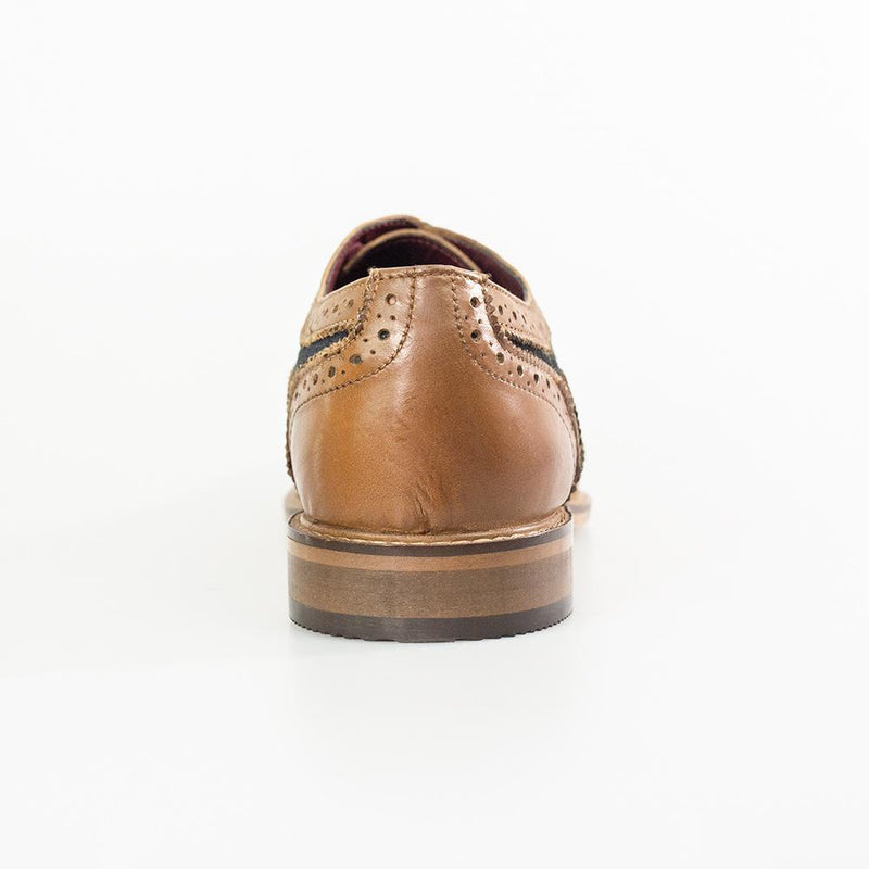 Ellington Tan Navy Brogue Shoes - Shoes - - ThreadPepper