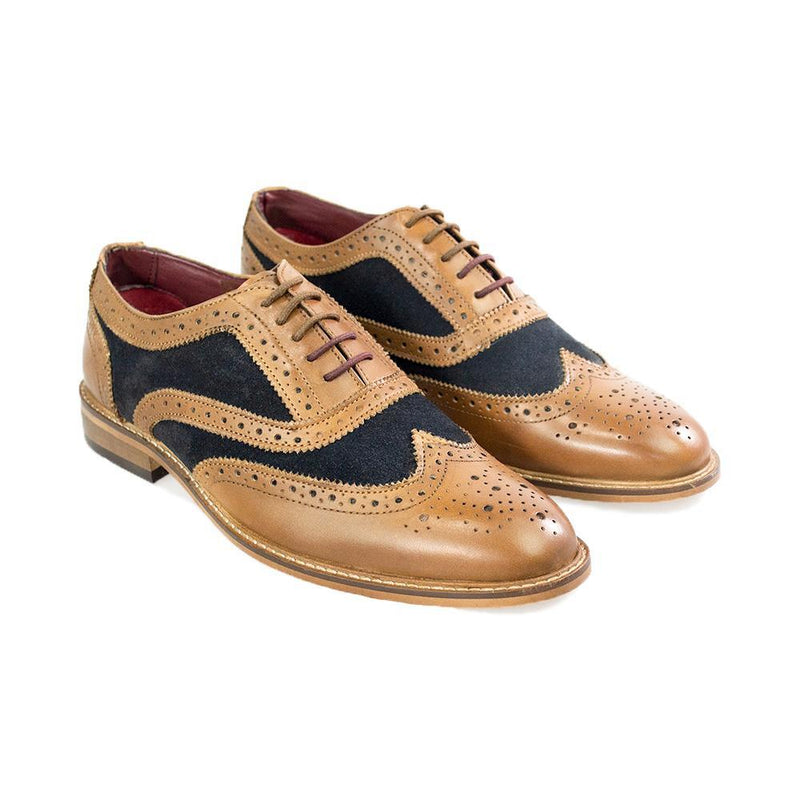Ellington Tan Navy Brogue Shoes - Shoes - 7 - ThreadPepper
