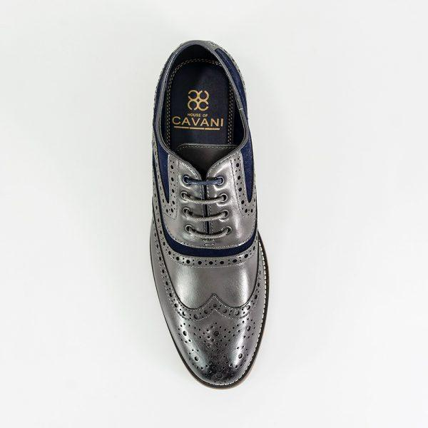 Ethan Grey Brogue Shoes - Footwear - - ThreadPepper
