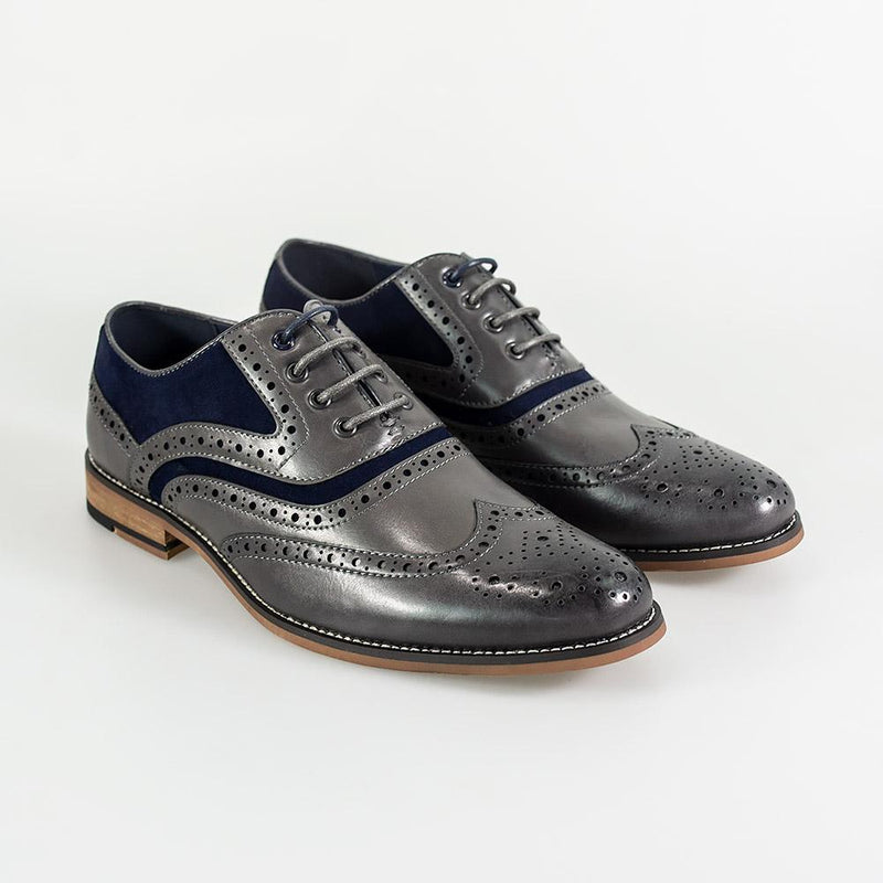Ethan Grey Brogue Shoes - Footwear - 7 - ThreadPepper