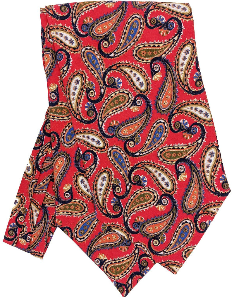 Evoque Red Paisley Cotton Cravat - Cravats - - ThreadPepper