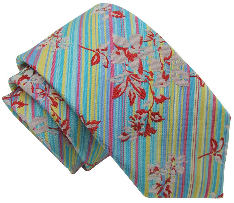 Floral Stripes Silk Tie - Ties - - ThreadPepper
